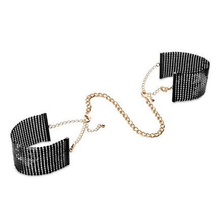 DESIR METALLIQUE BLACK METALLIC MESH HANDCUFFS