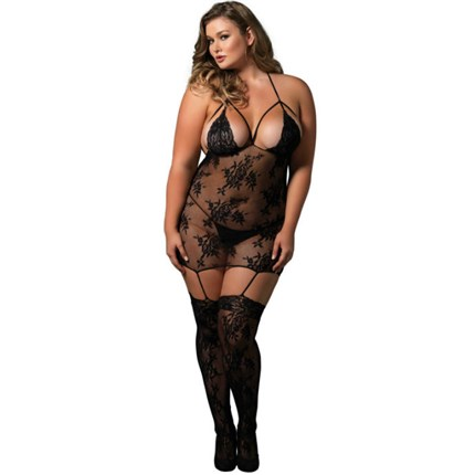 LEG AVENUE STRAPPY SUSPENDER BODYSTOCKING NEGRO