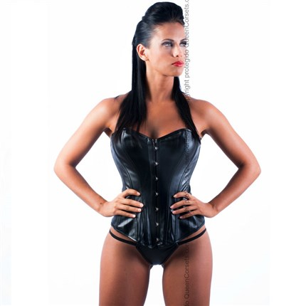QUEEN CORSETS OBSIDIANA LEATHER NEGRO SIZE S